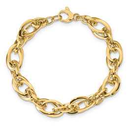 Layered Link Chain Bracelet in 14K Gold - 8.0""
