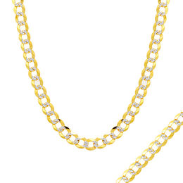 Men's 5.7mm Diamond-Cut Curb Chain Necklace in 14K Two-Tone Gold - 28""
