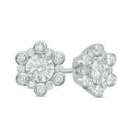 1/2 CT. T.W. Diamond Snowflake Stud Earrings in 10K White Gold