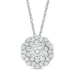 Diamond necklaces necklaces zales tw diamond double flower frame pendant in 10k white gold aloadofball Images