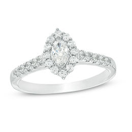 5/8 CT. T.W. Marquise Diamond Frame Engagement Ring in 14K White Gold