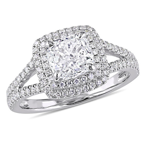 2 Ct T W Cushion Cut Diamond Double Frame Engagement
