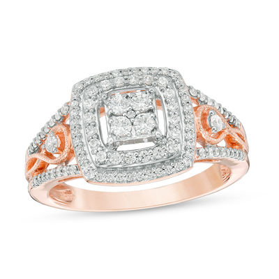 e4ff5a4cc6b828 T.W. Diamond Double Cushion Frame Twist Vintage-Style Engagement Ring in  10K Rose Gold