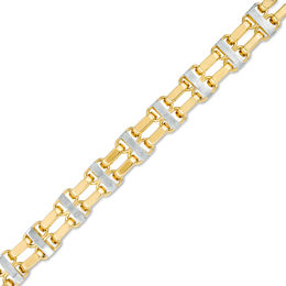 Men's 9.0mm Double Row Bracelet in 14K Two-Tone Gold - 8.5""