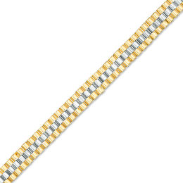Men's 6.0mm Triple Row Panther Link Chain Bracelet in 14K Two-Tone Gold - 8.5""