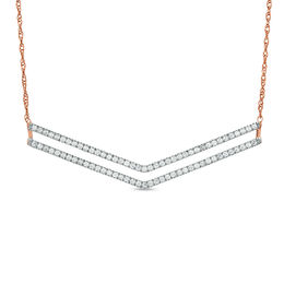 1/2 CT. T.W. Diamond Double Chevron Bar Necklace in 10K Rose Gold