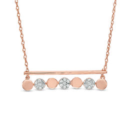 1/6 CT. T.W. Diamond Circle and Bar Necklace in 10K Rose Gold