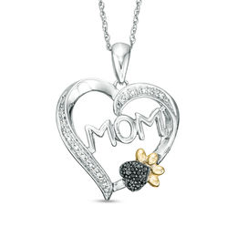 "1/20 CT. T.W. Enhanced Black and White Diamond ""MOM"" with Paw Print Heart Pendant in Sterling Silver and 10K Gold"