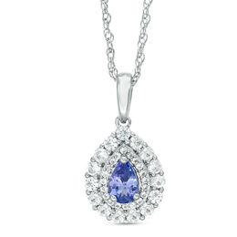 Pear-Shaped Lab-Created Tanzanite and White Sapphire Double Frame Pendant in Sterling Silver