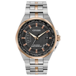 Men's Citizen Eco-Drive® World Perpetual A-T Two-Tone Watch with Grey Dial (Model: CB0166-54H)
