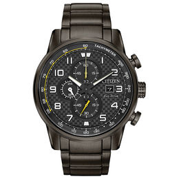 Men's Citizen Eco-Drive® Primo Chronograph Grey IP Watch with Black Dial (Model: CA0687-58E)