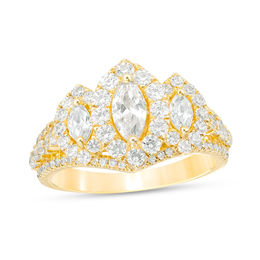 1-1/2 CT. T.W. Marquise Diamond Past Present Future® Frame Engagement Ring in 14K Gold