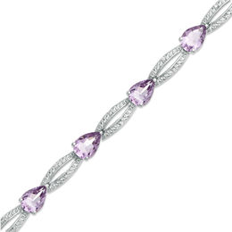 Pear-Shaped Rose de France Amethyst and Lab-Created White Sapphire Bracelet in Sterling Silver - 7.5""