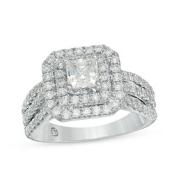 Celebration Grand® 1-5/8 CT. T.W. Princess-Cut Diamond Double Frame Multi-Row Engagement Ring in 14K White Gold (I/I1)