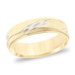 Men's 6.0mm Comfort-Fit Swiss-Cut Etched Wedding Band in 14K Gold