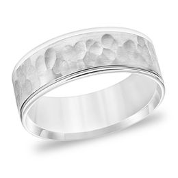 Men's 7.5mm Comfort-Fit Brushed Hammered Wedding Band in 14K White Gold