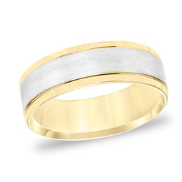 Men's 7.0mm Comfort-Fit Brushed Center Wedding Band in 14K Two-Tone Gold