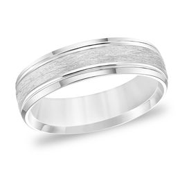 Men's 6.0mm Comfort-Fit Brushed Grooved Edge Wedding Band in 14K White Gold