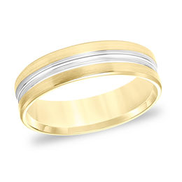 Men's 6.0mm Comfort-Fit Grooved Center Brushed Edge Wedding Band in 14K Gold