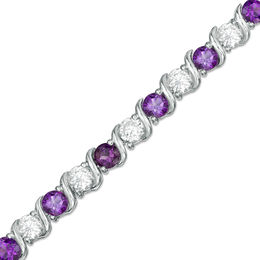 4.0mm Amethyst and Lab-Created White Sapphire Alternating Line Bracelet in Sterling Silver - 7.25""