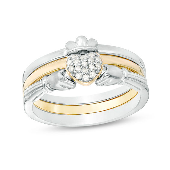 Zales 1/15 CT. T.w. Diamond Claddagh Three Piece Stackable Band Set in Sterling Silver and 18K Gold Plate XoiqDh