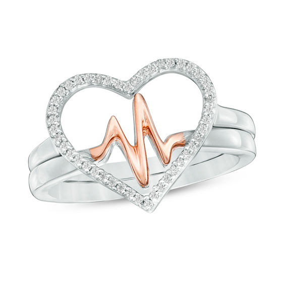 Zales 1/8 CT. T.w. Diamond Heartbeat and Heart Ring in Sterling Silver and 10K Rose Gold U2afeZoZ2B