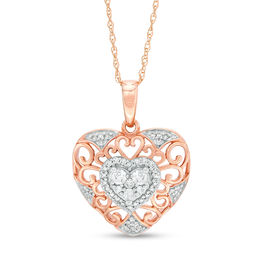1/4 CT. T.W. Diamond Filigree Heart Pendant in 10K Two-Tone Gold
