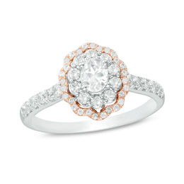 3/4 CT. T.W. Certified Oval Diamond Double Scallop Frame Engagement Ring in 14K Two-Tone Gold (I/SI1)