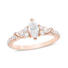 7/8 CT. T.W. Marquise Diamond Tri-Sides Twist Engagement Ring in 14K Rose Gold