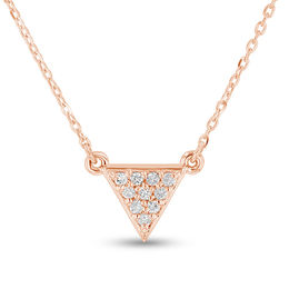 1/10 CT. T.W. Diamond Triangle Necklace in 14K Rose Gold