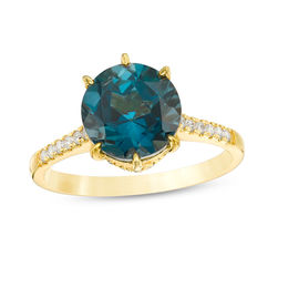 Your Stone Your Story™ 9.0mm London Blue Topaz and 1/4 CT. T.W. Diamond Ring in 14K Gold