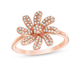 1/4 CT. T.W. Diamond Swirl Flower Ring in 10K Rose Gold
