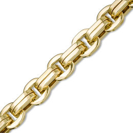 Made in Italy Men's 7.0mm Double Row Squared Link Chain Bracelet in 10K Gold - 8.5""