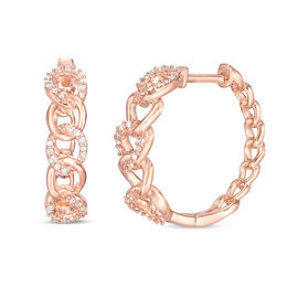 1/5 CT. T.W. Diamond Chain Link Hoop Earrings in 10K Rose Gold