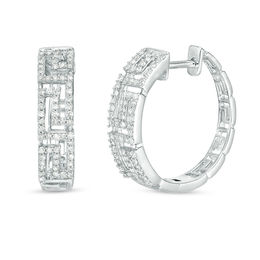 3/8 CT. T.W. Diamond Greek Key Hoop Earrings in 10K White Gold