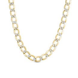 Made in Italy Men's 150 Gauge Diamond-Cut Curb Chain Necklace in 10K Two-Tone Gold - 22""