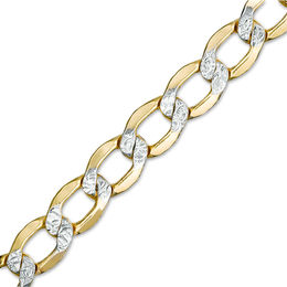 Made in Italy Men's 150 Gauge Diamond-Cut Curb Chain Bracelet in 10K Two-Tone Gold - 8.5""