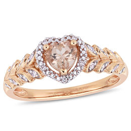5.0mm Heart-Shaped Morganite and 1/20 CT. T.W. Diamond Beaded Frame Leaf Shank Ring in 10K Rose Gold
