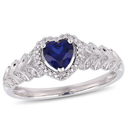 5.0mm Heart-Shaped Lab-Created Blue Sapphire and 1/20 CT. T.W. Diamond Beaded Frame Leaf Shank Ring in 10K White Gold
