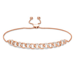 1/4 CT. T.W. Diamond Interlocking Curb Link Bolo Bracelet in 10K Rose Gold - 9.5""