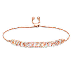 1/2 CT. T.W. Diamond Interlocking Curb Link Bolo Bracelet in 10K Rose Gold - 9.5""
