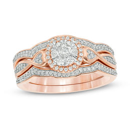 1/3 CT. T.W. Composite Diamond Frame Heart-Sides Twist Three Piece Bridal Set in 10K Rose Gold