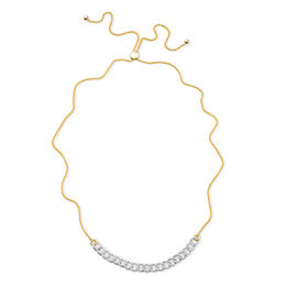 1/2 CT. T.W. Diamond Interlocking Curb Link Bolo Necklace in 10K Gold - 26""