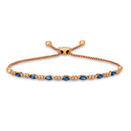 Le Vian® Blueberry Sapphires™ and Crème Brûlée Diamonds® 1/5 CT. T.W. Diamond Bracelet in 14K Strawberry Gold® - 9.5""