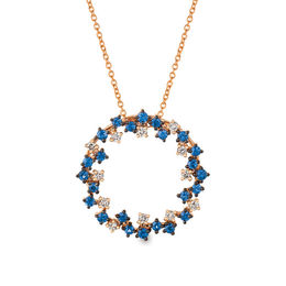 Le Vian® Blueberry Sapphires™ and Crème Brûlée Diamonds® 1/4 CT. T.W. Diamond Wreath Pendant in 14K Strawberry Gold®