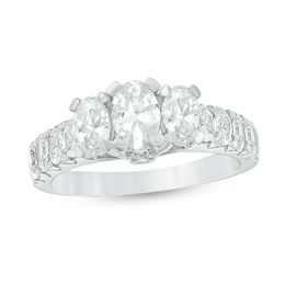 2 CT. T.W. Certified Oval Diamond Past Present Future® Engagement Ring in 14K White Gold (I/I1)