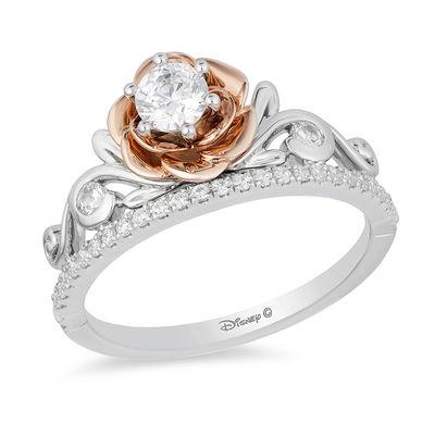 Enchanted Disney Belle 1 2 Ct T W Diamond Rose Tiara Engagement Ring In 14k Two Tone Gold Zales