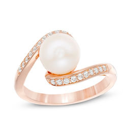 8.0mm Cultured Freshwater Pearl and Lab-Created White Sapphire Swirl Bypass Ring in 10K Rose Gold