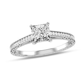 3/4 CT. T.W. Princess-Cut Diamond Scroll Engagement Ring in 10K White Gold