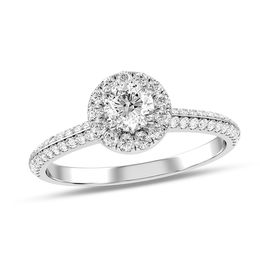 3/4 CT. T.W. Diamond Frame Double Row Engagement Ring in 14K White Gold